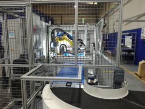 transportadora en curva automatización